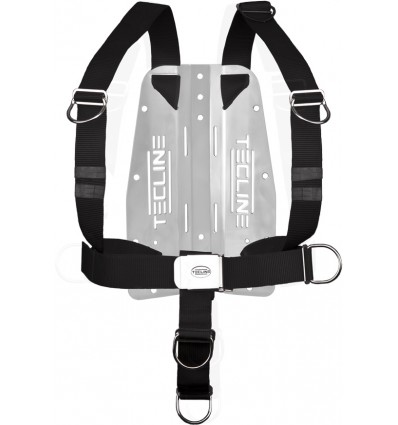 TecLine DIR harness with 3mm steel plate and rigid tape, moving d-rings